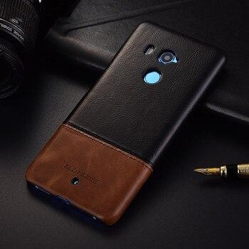 מותג יוקרה עור אמיתי בציר דק כריכה אחורית מקרה עבור HTC מקרי טלפון מכסה U11plus U11 בתוספת מעטפת