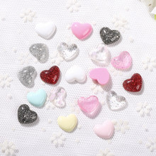 20pcs 11mm Mixed Kawaii Gilitter Heart Flatback Resin Cabochons Phone Deco. Scrapbook DIY Embellishments Accessorie(China)