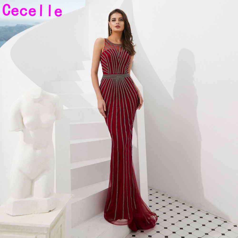 2019 New Burgundy Mermaid Long Sequins Evening Dresses Sleeveless Women Luxury Elegant Evening Party Gowns Robe De Soiree