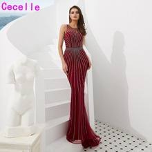 cecelle 2019 Burgundy Mermaid Long Sequins Evening Dresses