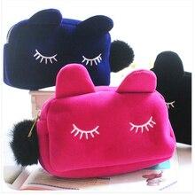 Новинка, Женская плюшевая сумка для макияжа с рисунком миньонов на молнии, милая сумочка-косметичка для девочек, дорожные сумки для хранения косметики, Органайзер