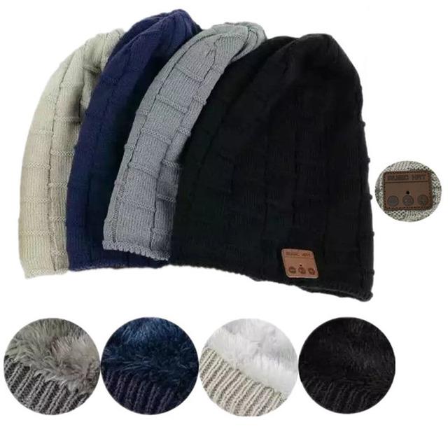 2017 New Winter Beanie Hat Cap Wireless Bluetooth Earphone Smart Headset Speaker Mic Outdoor Sport Stereo Music Hat