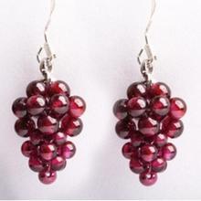 Натуральный кристалл Гранат Серьги виноград женский 925 Серебряный ушной крючок модные ювелирные изделия Висячие Серьги