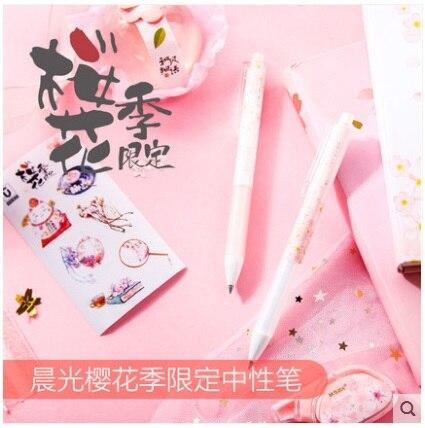 10 pcs lote m g chenguang papelaria cherry blossom temporada limitacao 0 5 preto 2610 bonito