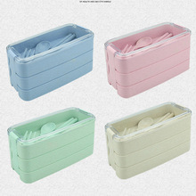 900ml Healthy Material Lunch Box 3 Layer Wheat Straw Bento Boxes Food Container Microwave Dinnerware Lunch Box For Kids