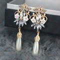 Ретро мода Императорская корона серьги длинные висячие серьги роскошный старинный с для женщин