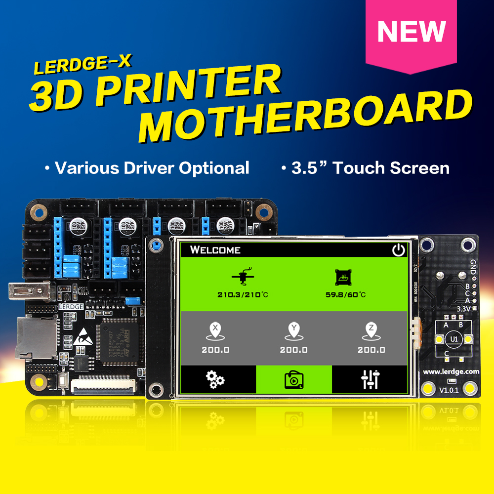 Free Shipping XCR3D 3D Printer Parts Lerdge-X Motherboard Color 3.5 Touch Screen ARM 32 Bit Control Board DIY Board Controller