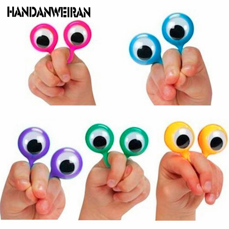 NEW 24PCS/LOT Eye Finger Puppets Plastic Rings With Wiggle Eyes Favors For Kids Assorted Colors Gift Toys Fillers Birthday&Party