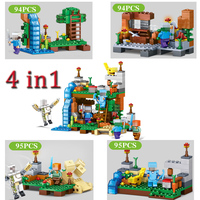 378pcs 4 In 1 Minecrafted Compatible City Figures Building Blocks My World Bricks Set Educational Toys