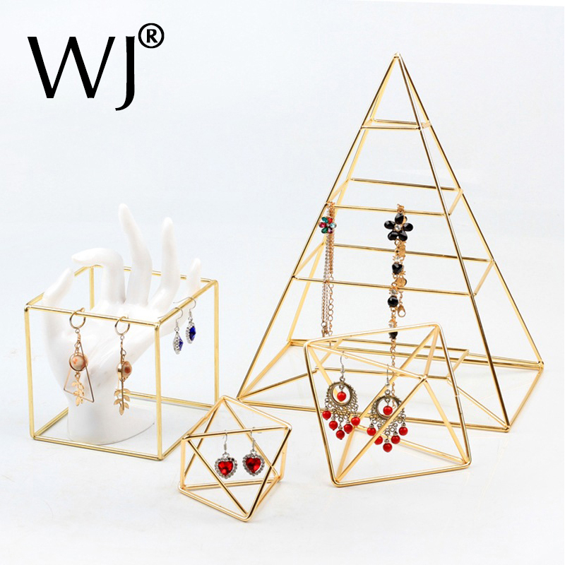 Ins Gold Plated Geometric Bracelet Long Earring Display Stand Hanging Rack Pendant Necklace Jewelry Organizer Holder Home Decor