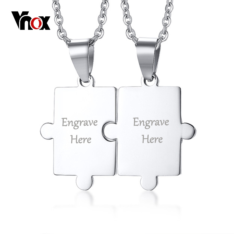 Vnox Puzzle Free Engraving Personal Couple Necklace for Women Men Stainless Steel Pendant Lover's Customized Jewelry