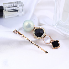 2 Pcs Korean Vintage Geometric Button Duckbill Clip for Girl Women Fashion Personality Hairpins Combination Set Hair Accessories