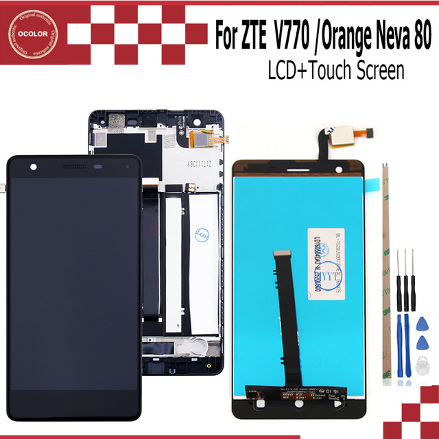 ocolor For ZTE Blade V770 LCD+Touch Screen Assembly Repair Part Accessories For ZTE Blade V770 Orange Neva 80 Mobile Phone+Tools