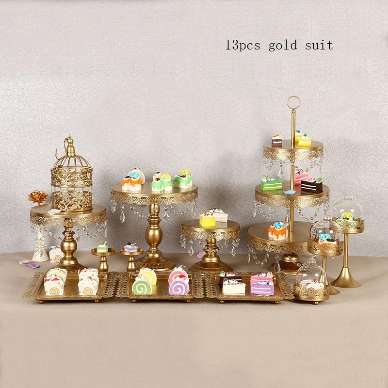 4-15 pièce or blanc gâteau Stand ensemble rond en métal cristal Cupcake Dessert affichage piédestal fête de mariage affichage