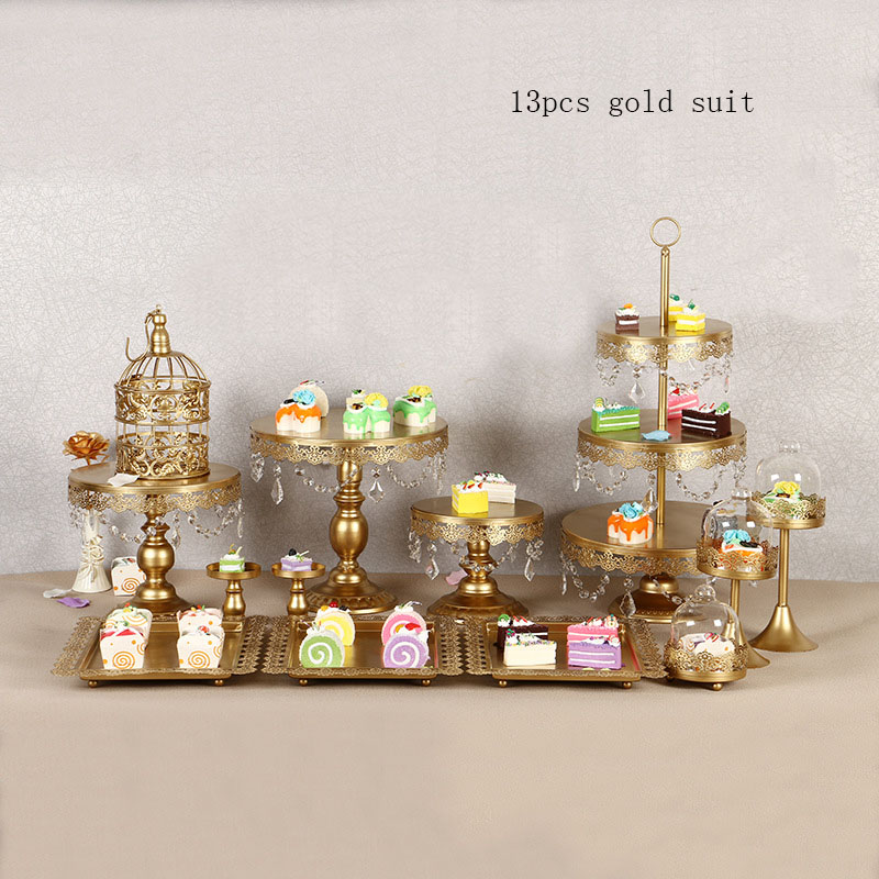4 15Piece Gold Rechargeable LED Cake Stand Set, Round Metal Crystal Cupcake Dessert Display Pedestal Wedding Party Display