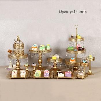 4-15Piece Gold white Cake Stand Set Round Metal Crystal Cupcake Dessert Display Pedestal Wedding Party Display