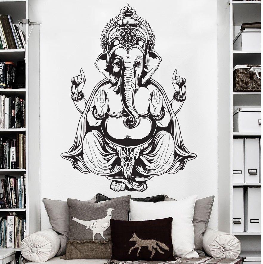 Eemaldatav Watrproof tapeet Vinüülist seina kleebis Art Decor seina kleebis Ganesh Buddha Elephant Om Yoga Hindu Mandala D183