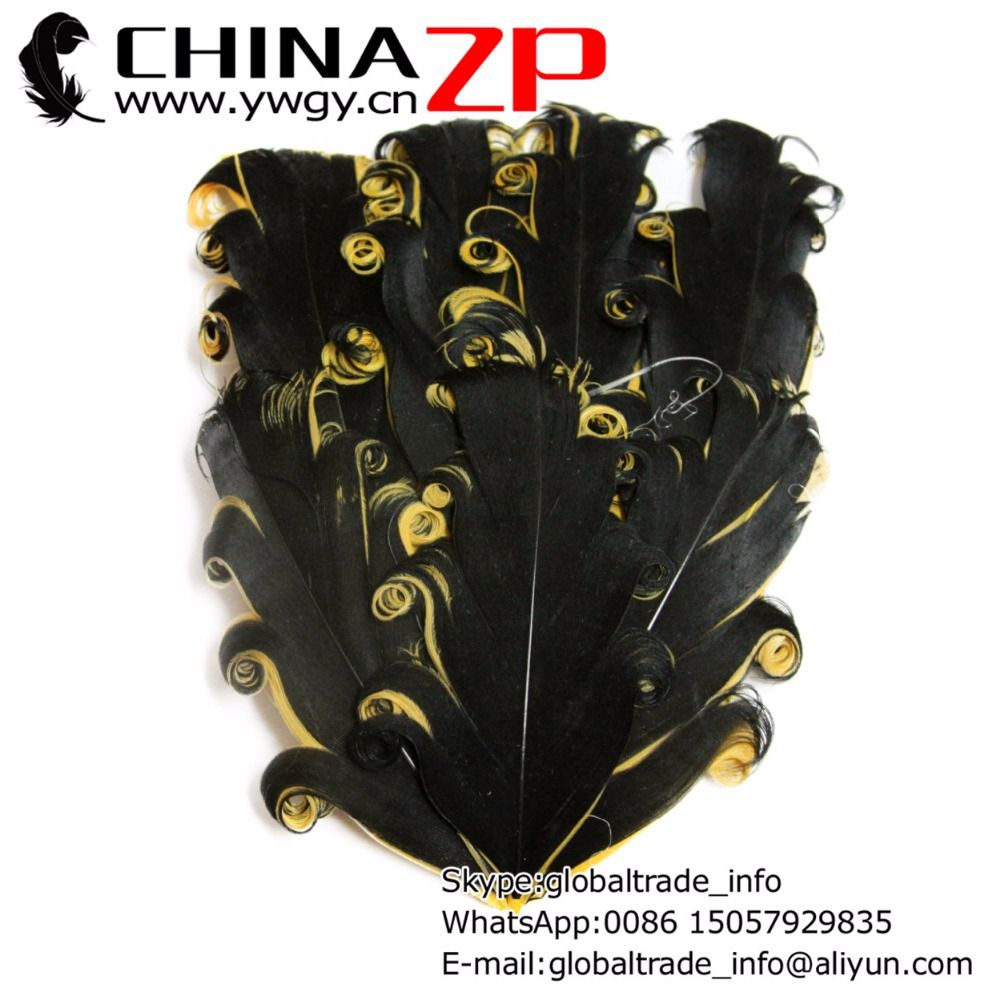 CHINAZP Factory Exporting 50pcs/lot Pretty Dyed Black with Gold Curled Nagorie Goose Feather Pad