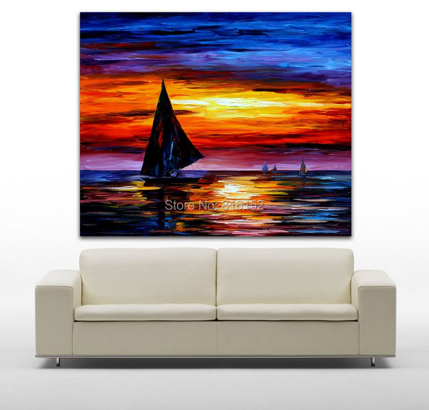 Aliexpress Com Buy 5 Panels Dusk Sunset Boat Printed: Aliexpress.com : Buy Sailing Boat On Sunset Sea View