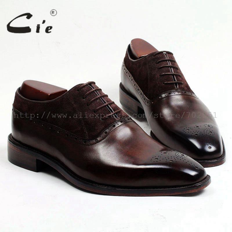 CIE Бесплатная доставка клей ремесла телячьей кожи верхней внутренняя подошва мужская платье Оксфорд цвет коричневый с замша обуви ox207