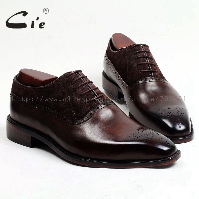 cie Free shipping Adhesive craft calf leather upper inner outsole men's dress oxford color brown with suede leather shoe OX207 стоимость