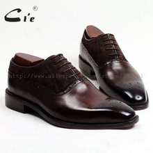 Adhesive craft calf leather mens dress oxford color brown with suede shoe No.OX127