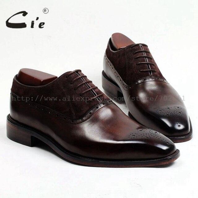 משלוח חינם דבק קרפט cie עור עגל עליון פנימי של הגברים outsole בנות אוקספורד צבע חום עם נעל עור זמש OX207
