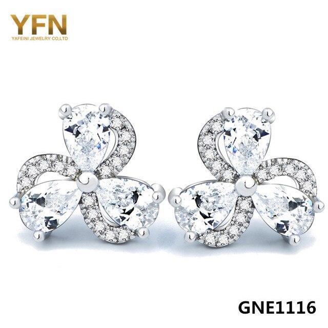 GNE1116 Genuine 925 Sterling Silver Jewelry AAA Cubic Zirconia Earrings Wholesale Brincos 925 Silver Stud Earrings For Women