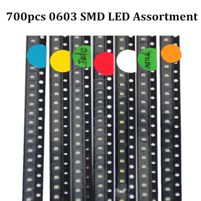 700pcs 0603 SMD LED Diodes Assortment Red/Green/Blue/Yellow/White/Emerald-green/Orange 100pcs each SMD LED 0603 Diodo LEDs Pack