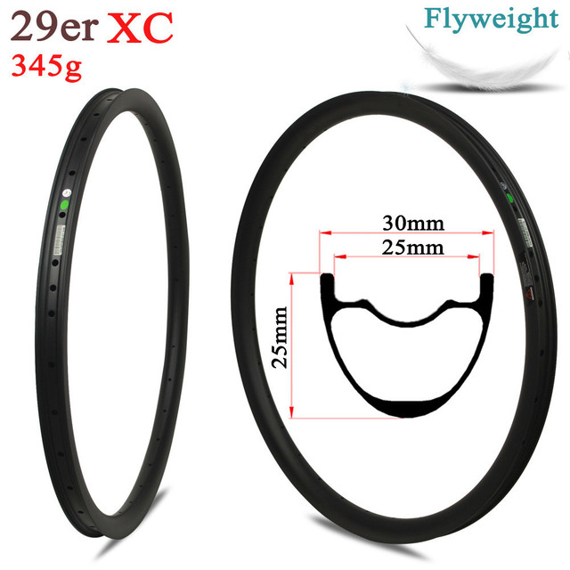 345g/piece 30mm Width 29er MTB Rim Tubeless Ready Japan Toray Carbon Fiber For XC Cross Country Mountain Wheel Rims
