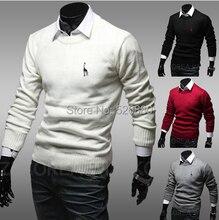 Mode 2015 new Fawn stickerei herren rundhals Schlank Pullover pullover warme persönlichkeit casual blusa masculina pullover