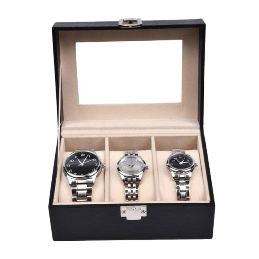 Bluelans 3 Slots Faux Leather Wrist Watch Display Storage Box Dust-proof Container Case
