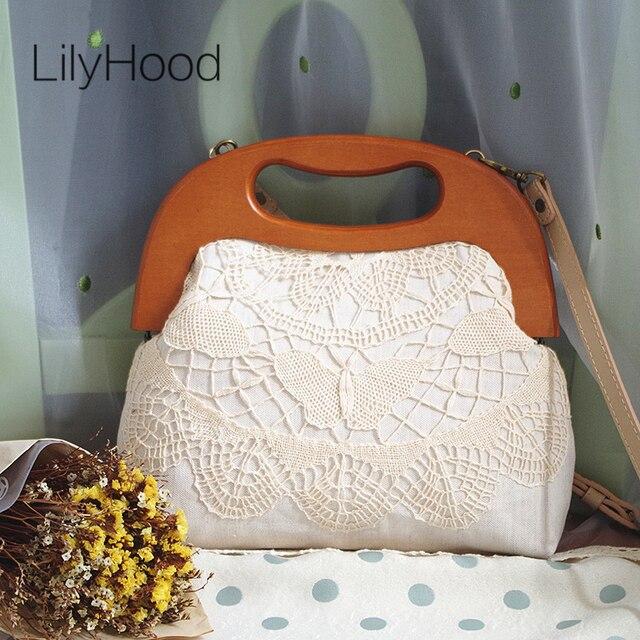f58b6d7dea15 LilyHood ручной работы для женщин кружево крышка дерево топ ручка сумка  леди осень вязаный крючком потертый