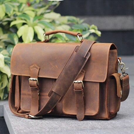High Grade Crazy Horse Leather men bag Vintage genuine leather men handbags Casual business briefcase Durable laptop bag
