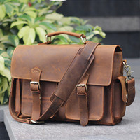 High Grade Crazy Horse Leather men bag Vintage genuine leather men handbags Casual business briefcase Durable laptop bag