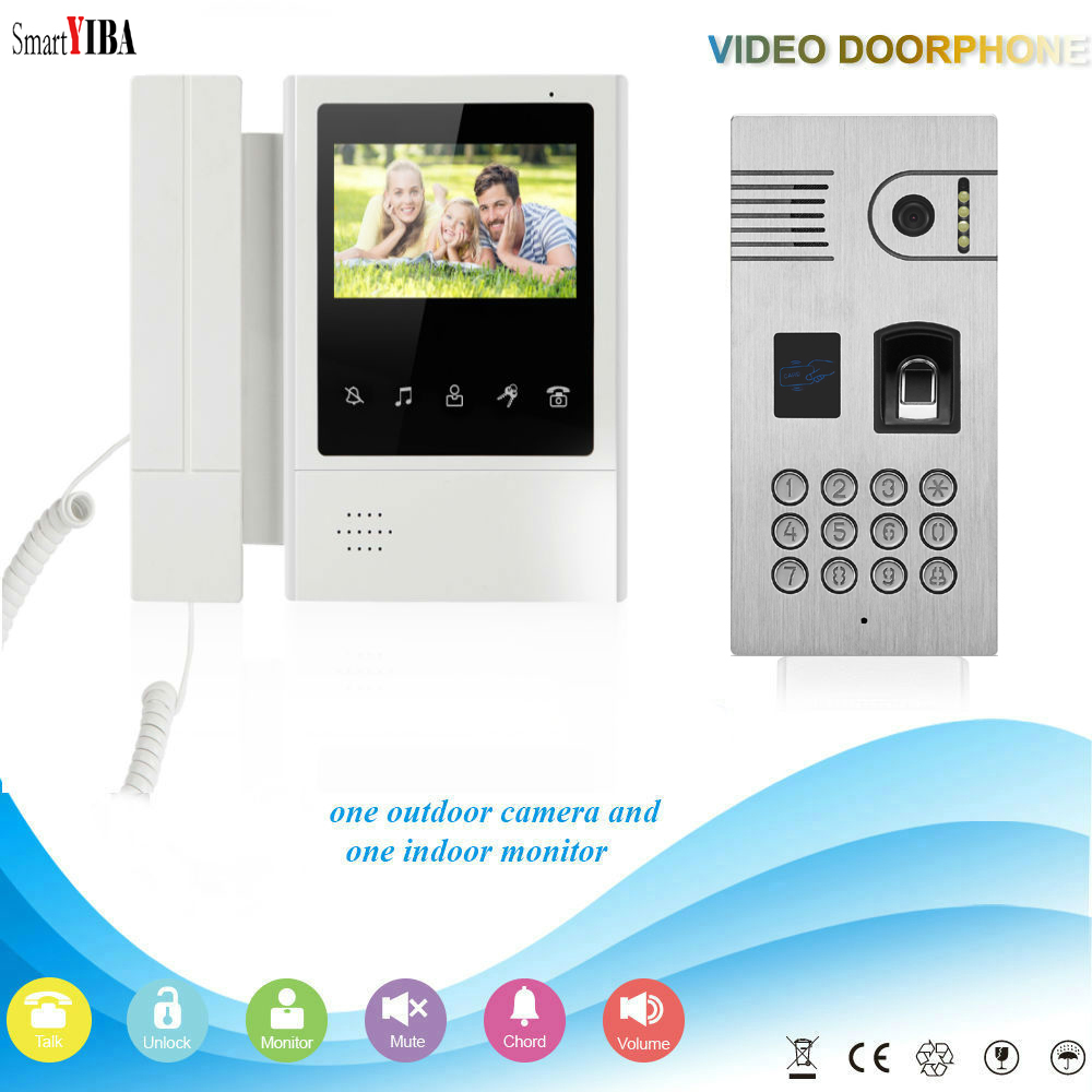 SmartYIBA Video Intercom 4.3''Inch Monitor Wired Video Doorbell Door Phone Intercom KIT RFID Access Control Fingerprint Password 7 inch password id card video door phone home access control system wired video intercome door bell