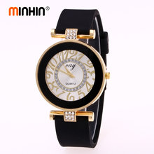 MINHIN Fashion Gold Geneva Watches Women Rhinestone Silicone Band Sports Watches Casual Dress Quartz Wristwatches(China)