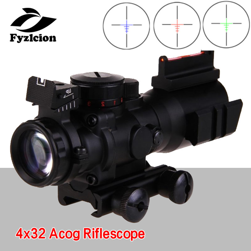 Chasse Sniper loupe pistolet à Air 4x32 Acog lunette de visée 20mm queue d'aronde Reflex optique portée tactique vue