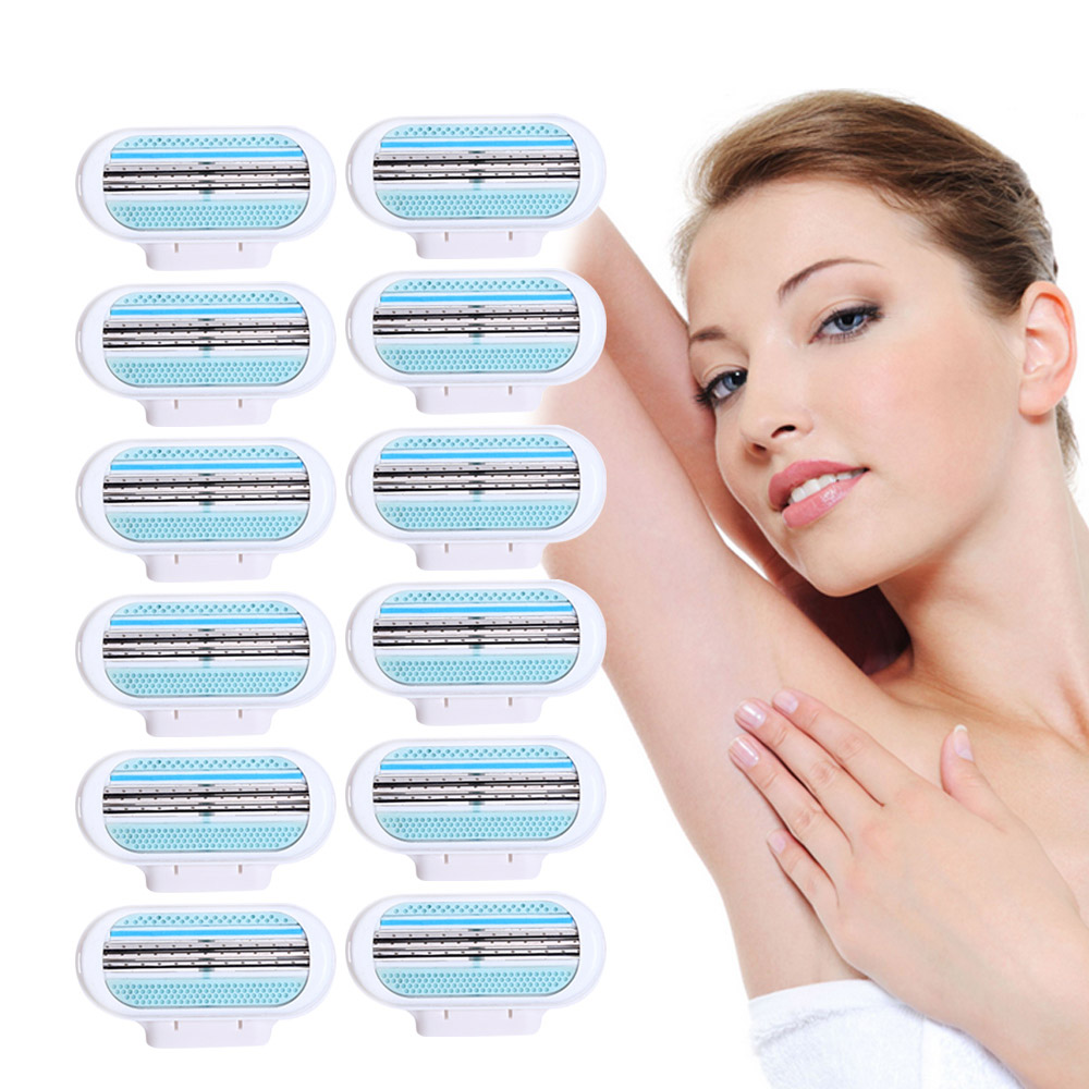 Best 12pcs/lot Female Shaving Razor Blade For <font><b>Women</b></font> and Men Blades <font><b>Shaver</b></font> Razor Blades <font><b>Replacement</b></font> <font><b>Head</b></font> For Venuse Beauty Safety