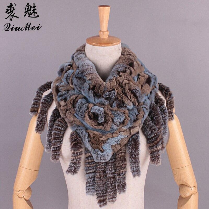 Winter Women Fur Scarves With Tassel Rex Rabbit Fur Knitted 100% Real Fur Scarf New Women Luxury Brand Foulard Femme Shawl