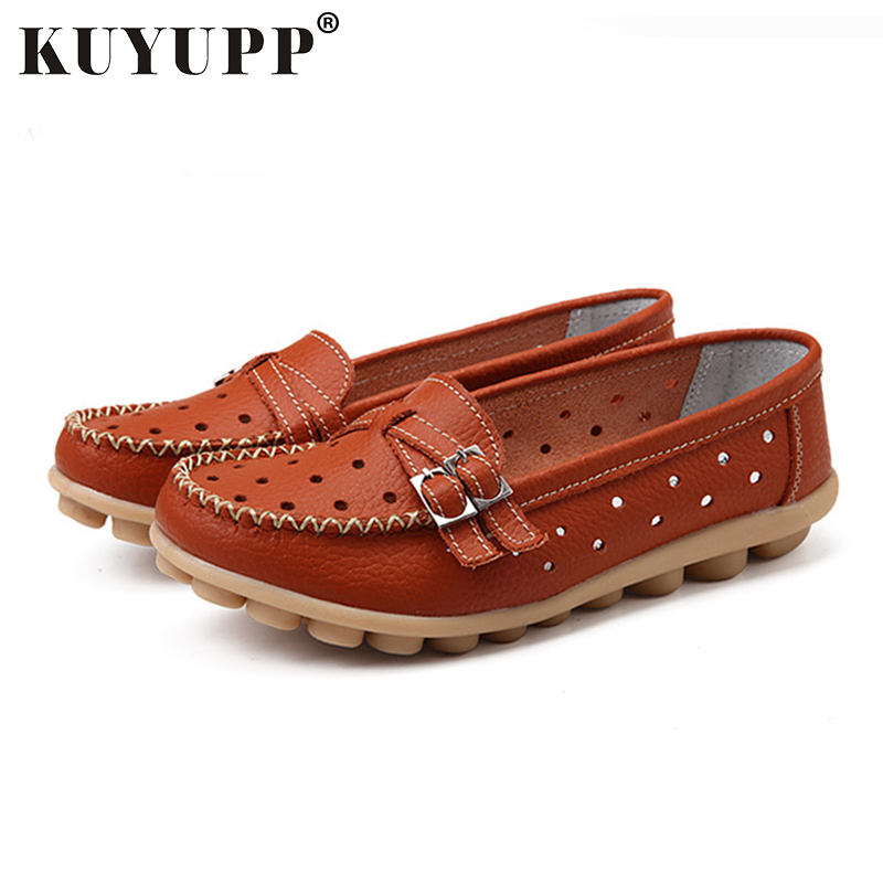 KUYUPP Hollow Out Women's Flat Shoes Cow Leather Loafers Casual Moccasin Driving Shoes Indoor Flat Slip-on Slippers YDT13 20pcs phono rca male