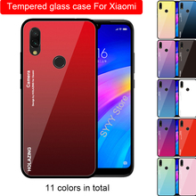 купить Gradient Tempered Glass Case For Xiaomi Redmi Note 7 Pro redmi note 5 pro redmi 6 pro redmi 5 plus Cover Protective Fundas gift дешево