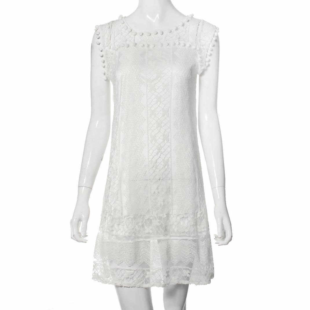 Hot Summer Sleeveless lace dress Slim openwork lace knee-length Women's White Casual Sleeveless Dress Robe d't pour femme 40*