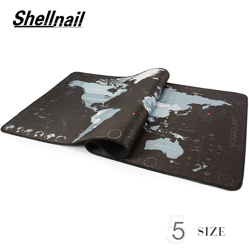 Shellnail Gaming Mouse Pad RGB Large Gamer Big Mouse Mat Computer Mousepad World Map Natural Rubber Mause Pad Keyboard Desk Game