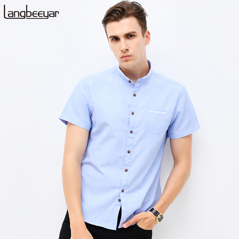 Fashion brand clothing mens short sleeve shirt 2018 summer for Men slim fit shirts