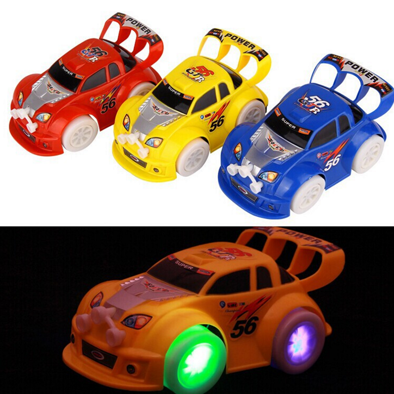 1 pc new turning plastic flashing music electric racing car toys action figures car model toys birthday gifts for children boys in action toy figures from