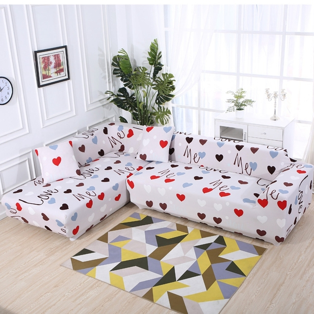 Grey Heart Pattern Universal Stretch Furniture Ers For Living Room Elastic L Shape Sofa All
