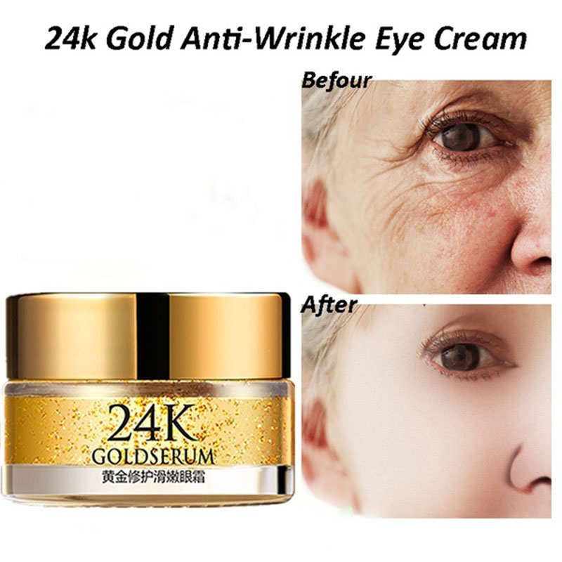 24K Gold Hyaluronic Acid Eye Serum Anti-Wrinkle Remover Dark Circles Eye Cream Against Puffiness Anti Aging