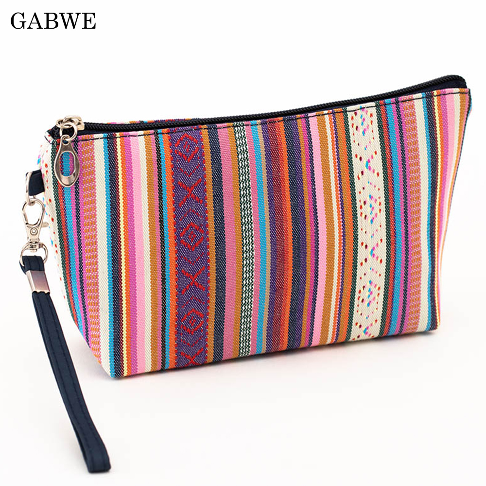 GABWE Colorful Vintage Women Cosmetic Bag Cotton Retro Makeup Bag Beauty Organizer Travel Pouch Necessarie Toiletry Wash Bag