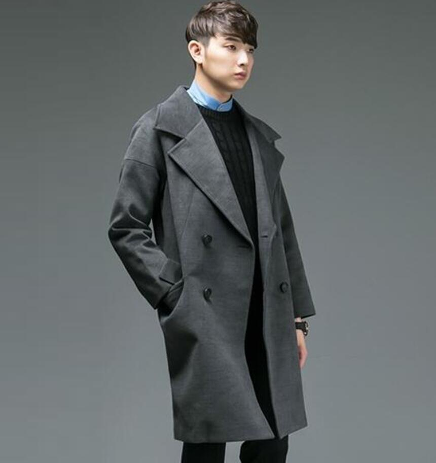 Ultra long paragraph cashmere MEN overcoat loose 2017 double breasted male long-sleeve woolen trench coat outerwear plus size
